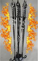 Подарочный набор кованных шампуров (3*12*670) на подставке - цвет серебро (медь, золото)