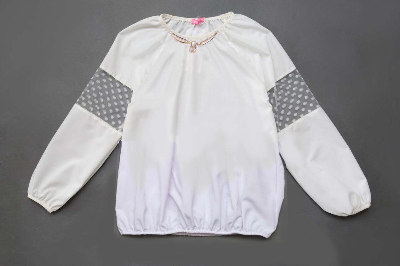Блузка для девочки с длинным рукавом SmileTime Olivia с брошью, белая