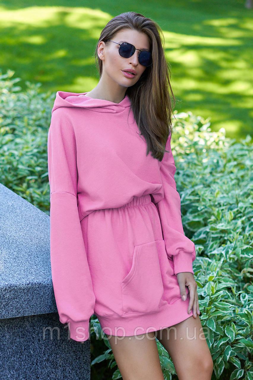 Женское платье-худи из трехнитки с капюшоном (Виола jd)