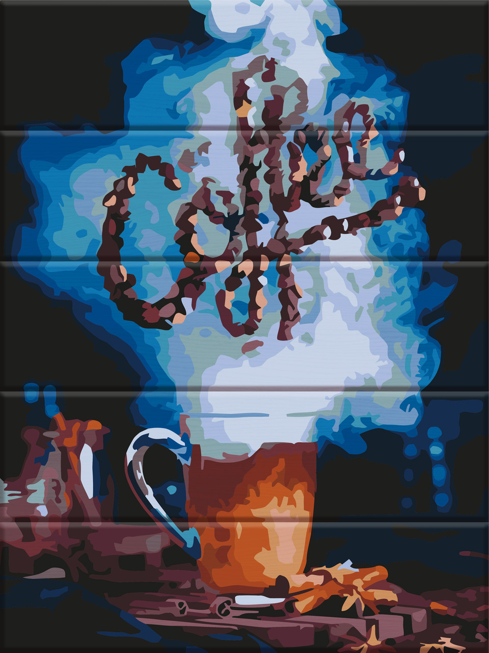 "Картина по номерам на дереве ""Кофе"" 30*40 см"