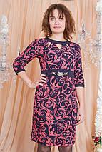 Модное стильное красивое трикотажное платье с растительным принтом., фото 2
