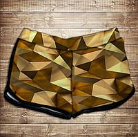 Шорты 3D принт женские-Золотой кубизм