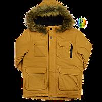 Коричневый пуховик (парка, куртка) для мальчика с капюшоном теплый George