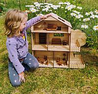 Кукольный домик с деревцем и террасами 63см. Игровой домик с набором мебели.