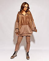 Теплый женский трикотажный костюм с леггинсами большого размера.Размеры:48/50,52/54., фото 1