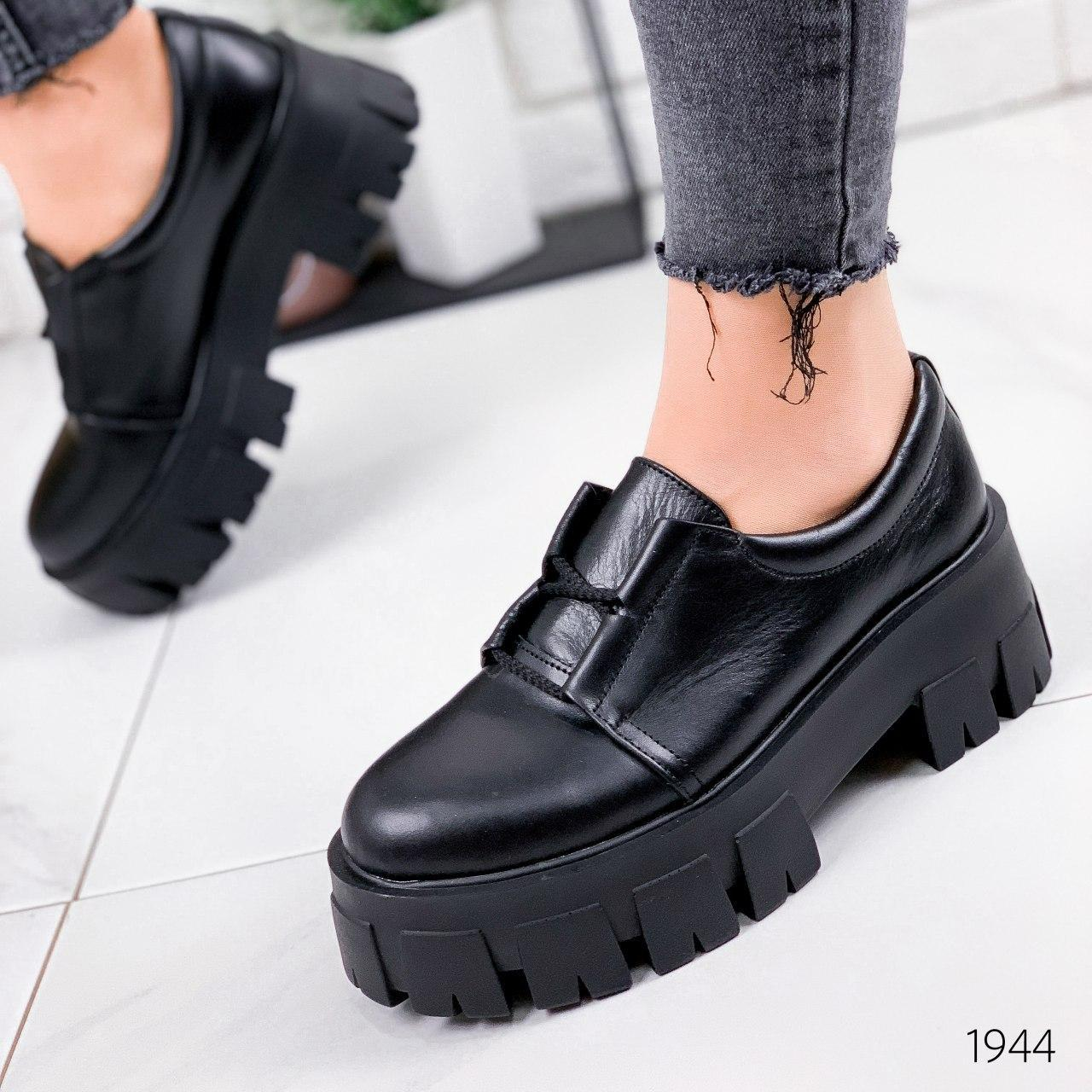 Туфли женские черные на платформе из НАТУРАЛЬНОЙ КОЖИ. Туфлі жіночі чорні на платформі