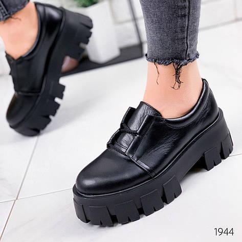 Туфли женские черные на платформе из НАТУРАЛЬНОЙ КОЖИ. Туфлі жіночі чорні на платформі, фото 2
