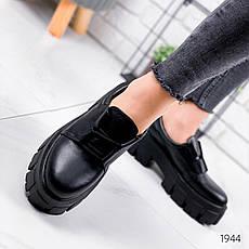 Туфли женские черные на платформе из НАТУРАЛЬНОЙ КОЖИ. Туфлі жіночі чорні на платформі, фото 3