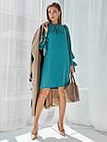 Платье-трапеция с воротником аскот и рукавом летучая мышь, фото 4