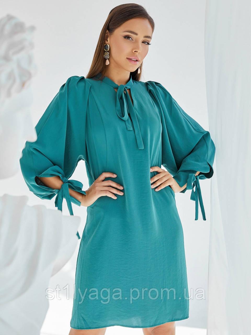 Платье-трапеция с воротником аскот и рукавом летучая мышь