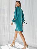 Платье-трапеция с воротником аскот и рукавом летучая мышь, фото 3