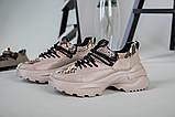 Кроссовки женские кожаные бежевые с имитацией питона, фото 7