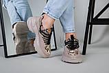 Кроссовки женские кожаные бежевые с имитацией питона, фото 3