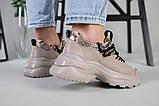 Кроссовки женские кожаные бежевые с имитацией питона, фото 5