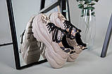 Кроссовки женские кожаные бежевые с имитацией питона, фото 2
