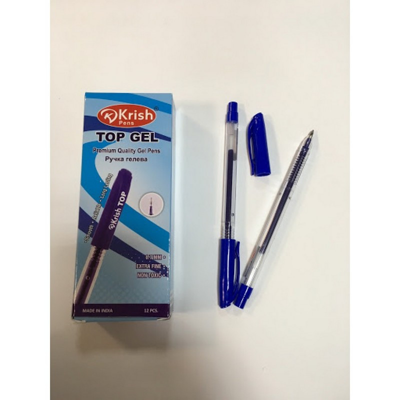 Ручка гелева Krish TOP GEL 0,7 мм червона корпус прозорий