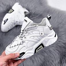 Кроссовки женские белые на платформе из эко кожи. Кросівки жіночі білі на платформі, фото 2