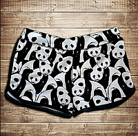 Шорты 3D принт женские-Мир панд