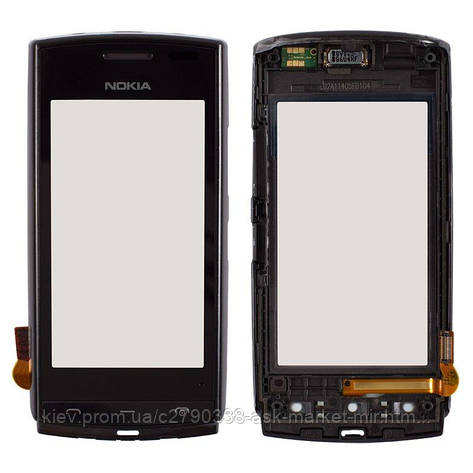 Сенсор для Nokia 500 Original Black с рамкой, фото 2