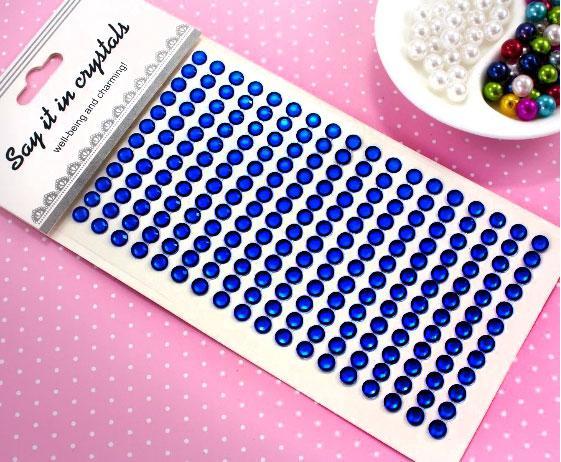 Стразы самоклеющиеся Ø6мм на планшетке Цвет - Синий