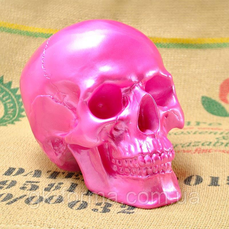 Череп человека декоративный розовый гипсовый