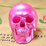 Череп человека декоративный розовый гипсовый, фото 2