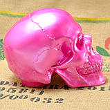 Череп человека декоративный розовый гипсовый, фото 3