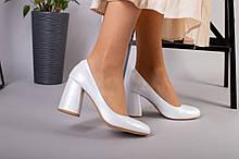 Туфли женские кожаные белый перламутр