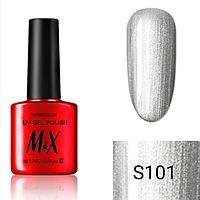 Гель-лак для ногтей фирмы M&X 7ml гель лак с эффектом серебрянной втирки, серебрянный,перламутровая серия