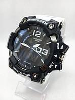 Часы мужские спортивные водостойкие G-SHOCK Casio (Касио), цвет графит с белым ремешком ( код: IBW418BO )