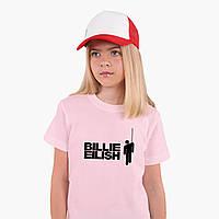Детская футболка для девочек Билли Айлиш (Billie Eilish) (25186-1211) Розовый, фото 1