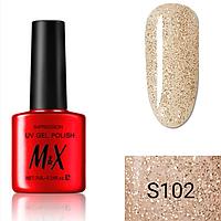 Гель-лак для ногтей фирмы M&X 7ml золотые блестки на прозрачном, блестки мелкие, перламутровая серия