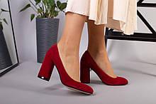 Туфли женские велюровые красные с обтянутым каблуком 10 см