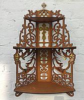 Деревянная угловая полка, иконостас, полочка для икон с голубями цвета дуб с золотыми накладками