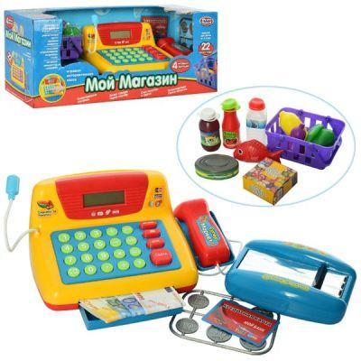 Магазин Кассовый аппарат 7016 , музыкальный, продукты в коробке 43-18-18см