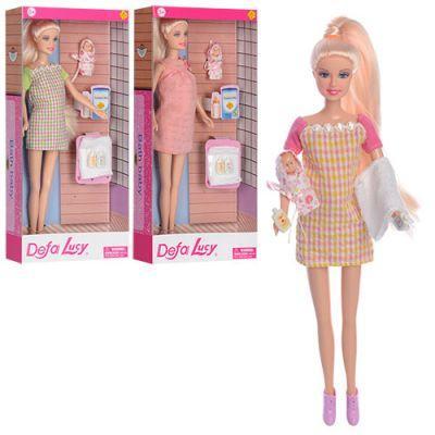Кукла DEFA 8357 беременная, пупс 5 см, аксессуары, 3 вида, в кор-ке 15-32-5,5 см