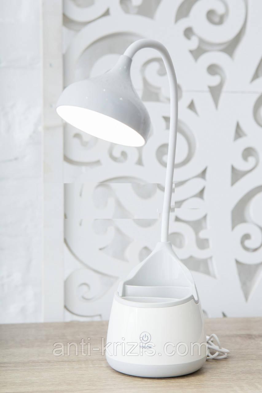Сенсорная настольная аккумуляторная LED лампа-подставка для телефона/ручек LD-3002, гарантия!