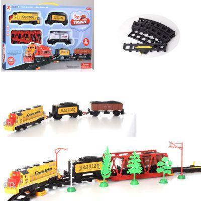 ЗАЛІЗНИЧНИЙ 3671ABC локомотив 20 см, вагон 2 шт, міст, звук, світло, 39 д, 3 види, на бат-ке, в кор-ке 55-32-6 см