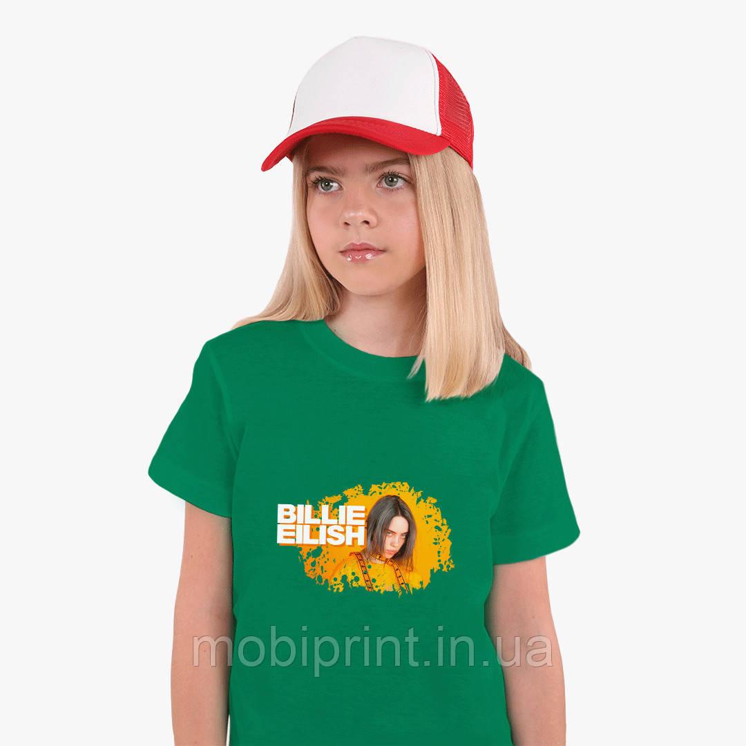 Детская футболка для девочек Билли Айлиш (Billie Eilish) (25186-1213) Зеленый