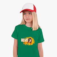 Детская футболка для девочек Билли Айлиш (Billie Eilish) (25186-1213) Зеленый, фото 1
