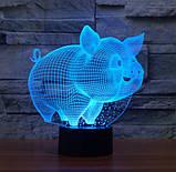 Електричний світильник Настільний з оптичним ефектом 3D, фото 4
