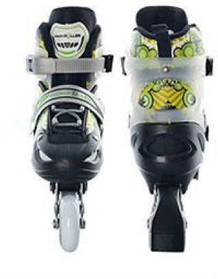 Полупрофессиональные раздвижные ролики PROFI A 5069 S (30-33)  Черно-зеленые ,полумягкие