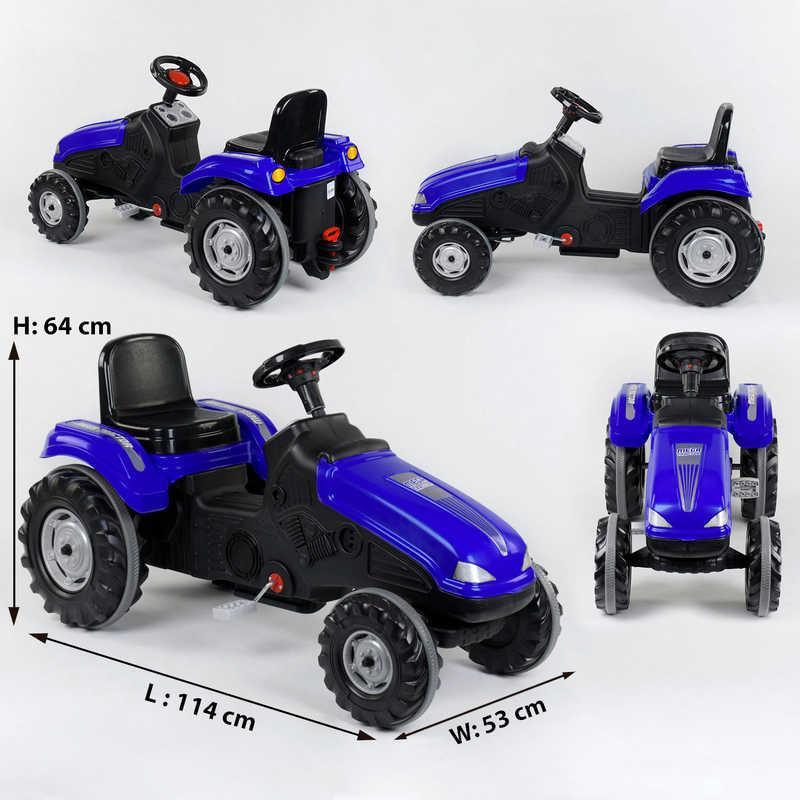 Педальний Трактор 07-321 BLUE (1) клаксон на кермі, регульоване сидіння, колеса з гумовими накладками, в