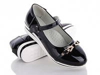 Детские черные туфли для девочки с белою подошвою Seven. Размер 34-36.