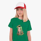 Детская футболка для девочек Билли Айлиш (Billie Eilish) (25186-1599) Зеленый