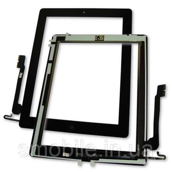 Apple Сенсорный экран iPad 4 черный + шлейф кнопки HOME (оригинальные комплектующие)