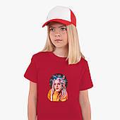 Детская футболка для девочек Билли Айлиш (Billie Eilish) (25186-1605) Красный