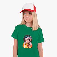 Детская футболка для девочек Билли Айлиш (Billie Eilish) (25186-1605) Зеленый, фото 1