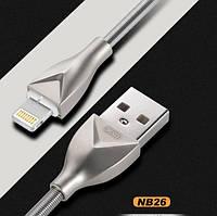 XO Lightning кабель зарядки и синхронизации XO NB26 для iPhone iPad iPod в серебристой металлической оплётке, фото 1