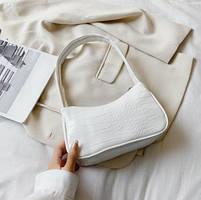 Женская сумочка лодочка из крокодила в белом цвете, фото 2